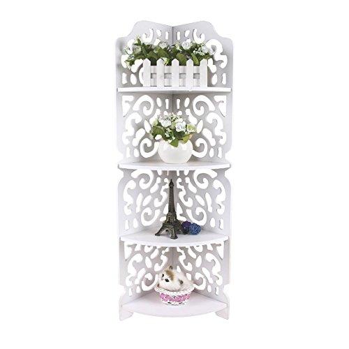 Eckregal mit 4 Ebenen, Bücherregal, WPC, Holz, Kunststoff, Eckregal, für Badezimmer, Küche,...