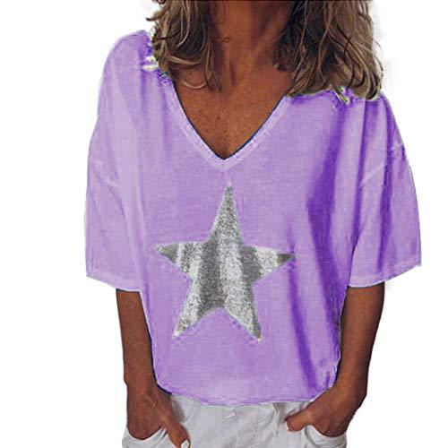 T-Shirt Bluse Frauen Sommermode Solid Bling V-Ausschnitt Kurzarm Tops (M,Lila)