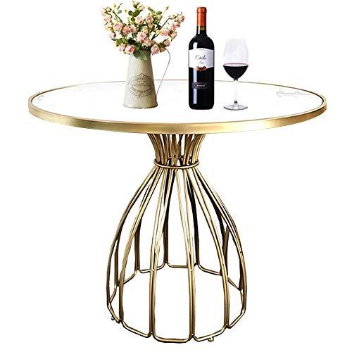 Mesa de Centro de marmol, Mesa Redonda, Estructura de Metal y Hierro, para Hotel, Comedor, Sala de Estar en casa, Dorado