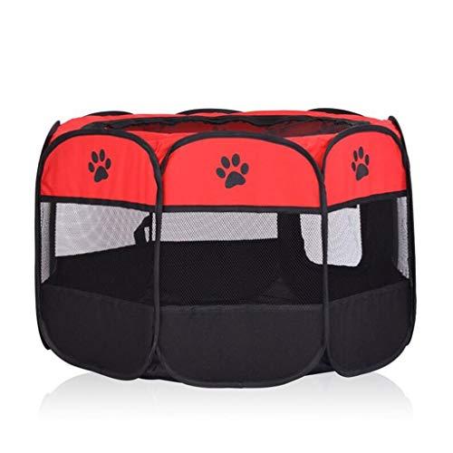 Jlxl Huisdier Hek Speelgoed, Kooi Huis Tent Oefening Run Voor Hond Puppy Kat Konijn Guinea Varken Met 8 Panelen Wasbaar, Rood