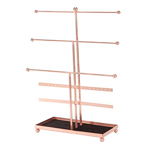 Simmer Stone Jewelry Stand, 3 Tier Jewelry Organizer with Soft Ring Tray, Decorative Jewelry Holder Display Rack for Necklaces, Earrings and Bracelets, Rose Gold