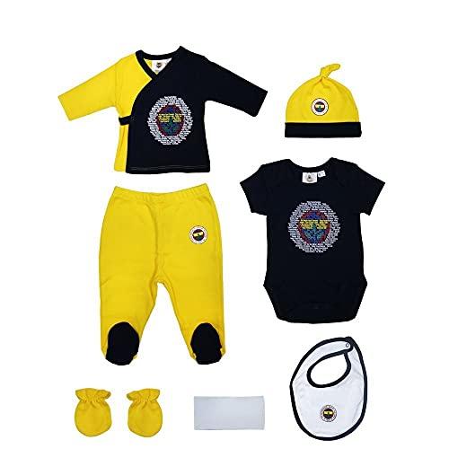 FENERBAHCE Fenerbahçe Original Lizenziertes 7 Teiliges Set Für Neugeborene Mädchen und Jungen %100 Baumwolle
