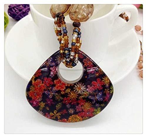 AdorabFruit Vorhanden Anhänger Böhmischer Weinlese-ethnische Copy-Lange Kristallhandgemachte Mala Perlenketten & PendantsFor Frauen-Kleid Opulente Halskette (Metal Color : Rhodium Plated)