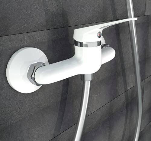 EISL NI168SCR-W, Badarmatur, Einhebelmischer, problemloser Anschluss an den Brauseschlauch, Mischbatterie, Brausethermostat in Chrom, Speed Duscharmatur Weiß