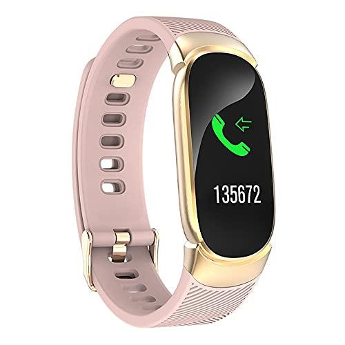 Jumaomaoyi - Pulsera inteligente de ritmo cardíaco, presión arterial, monitoreo del sueño, recordatorio de movimiento, podómetro, pantalla a color (color: oro rosa)