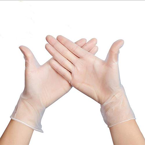 Disposable PVC Gloves, 100pcs Safe Touch Glove for Virus Protection, Cooking, Food Handling, Cleaning (L)