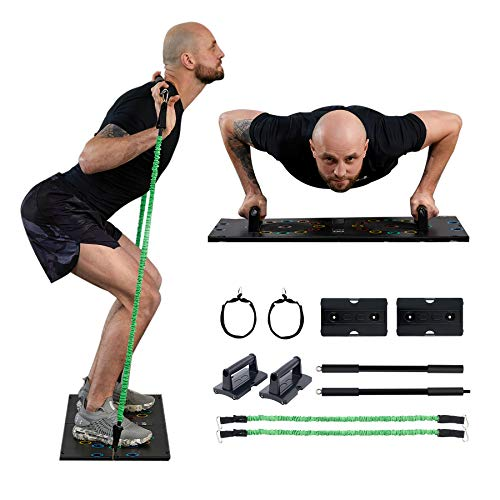 ZELUS Portable Home Gym Set with Folding Base, Resistance Bands with Handles and Bar, Straps, Ab...