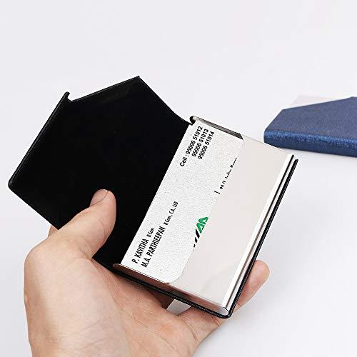homEdge - Porta biglietti da visita, sottile, professionale, 2 confezioni in pelle poliuretanica+custodia per biglietti da visita in acciaio inox, per viaggi e affari, colore: Nero e Blu