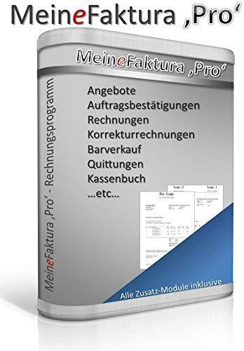 Rechnungsprogramm 'MeineFaktura' Pro inkl. Kassenbuch - Angebote, Aufträge & Rechnungen / Korrekturrechnungen / Mahnungen / Quittungen schreiben / auch für Kleinunternehmer geeignet