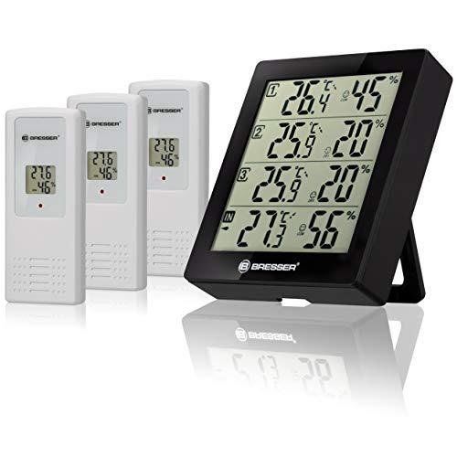 Bresser Wetterstation Funk mit Außensensor Thermometer Hygrometer Temeo Hygro Quadro inklusive 3 Außensensoren um bei 4 Umgebungen gleichzeitig Temperatur und Luftfeuchtigkeit zu messen, Schwarz