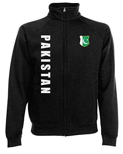 AkyTEX Pakistan Sweatjacke Jacke Trikot Wunschname Wunschnummer (Schwarz, L)