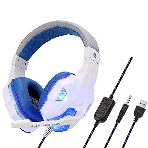Auricular Auricular Auricular computadora Compatible con PC/para PS4 / Xbox One/Interruptor y Dispositivo móvil Estéreo de reducción de Ruido iluminada con Auriculares de micrófono (Color: Azul)
