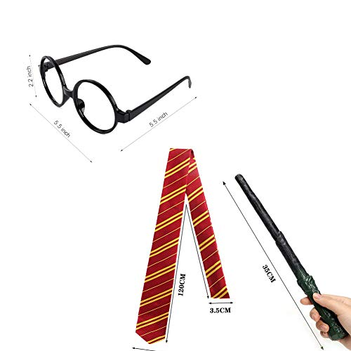EUYUAN-10-Pcs-Costumes-Set-with-Wizard-WandBolt-Scar-Tattoo-Gryffindor-TieGlassesNecklace-and-Bracelet-for-Cosplay-PartyHalloweenCarnival
