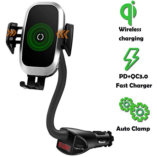 Qi Wireless Car Charger Cigarette Lighter Mount, Car Charger with PD QC3.0 Quick Charge Phone Holder Compatible with iPhone 11 Pro XS X XR 8 Samsung Galaxy S10 S9 S8 Plus Note 10 9 8