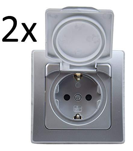DELPHI Schutzkontakt-Steckdose IP44 mit Klapp Deckel 230V I inkl. Rahmen I UP Montage I Innen und Aussen I 2 Stück I Silber