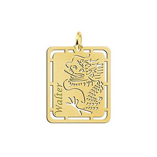 Namesforever Ankerkette mit Namensanhänger Motiv Chinesicher Drachen aus Gold mit Ihrem Wunschnamen