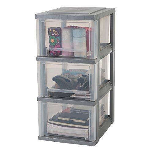 IRIS, utdragslåda/rullbehållare/verktygsskåp Smart Drawer Chest, SDC-303, med rullhjul, plast, silver/transparent