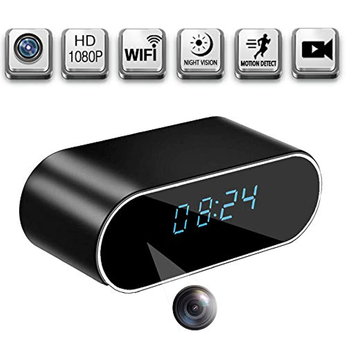 Spy Camera Clock Wireless Hidden Camera WiFi 1080P Motion Detection/ Loop Video Recording/ Wireless IP Camera Indoor Home Security Monitoring Nanny cam