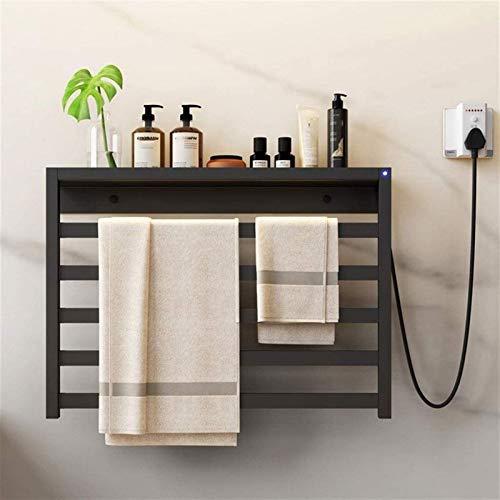 Toallero con calefacción, radiador eléctrico, portátil, independiente o montado en la pared, 580 x 400 x 100 mm, 60 W (color: línea izquierda negra, tamaño: 580 x 400 x 100 mm)