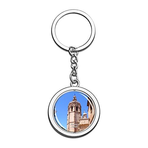 Hqiyaols Keychain España Torre Miguelete Valencia Cristal Girar Acero Inoxidable Llavero Viajes Ciudad Recuerdo Llavero