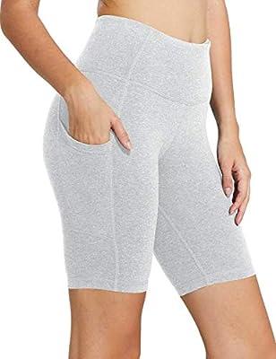 "BALEAF Women's 8"" High Waist Biker Workout Yoga Running Compression Exercise Shorts Side Pockets Light Grey Size S"