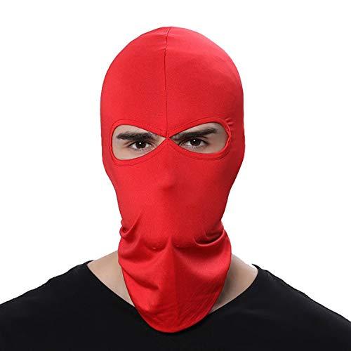 FENTI Multifunktionen Gesichtsmaske aus Lycra 2 Loecher Sport Balaclava Einfarbige Maske Warm Fahrrad Ski Snowboard Rot