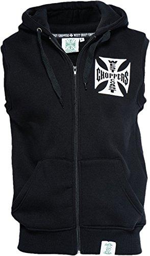 WCC West Coast Choppers Hoodie Sleeveless Iron Cross Black-XL