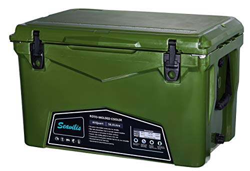 Seavilis Cooler 60qt (Jungle Green)(Including $50.0 Free Accessories) Hanging Wire Basket,Divider and Cup Holder are Free