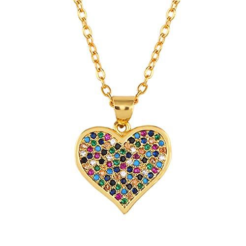 Collares De Ojo Malvado De Oro, Collar De Suéter De Ojo Griego con Circonita Arcoíris para Mujer, Joyería De Oro De 24 Quilates Cz