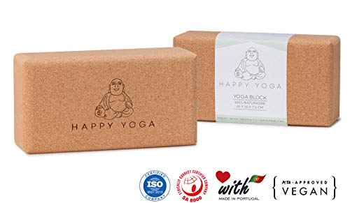 Happy Yoga 2er Set Yogablock 100{f1c5b1faf0537d08ef0edb757c5f4fe13543a4a55377f2ab368625f0b96f70e5} Veganer Naturkork | Yoga Block ökologisch hergestellt in Portugal | Yogaklotz für Pilates, Yoga, Fitness und Meditation | Korkblock für Anfänger und Fortgeschrittene