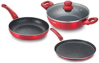 Prestige Omega Deluxe Metallica Luminous BYK Aluminium Cookware Set, 3-Pieces, Red