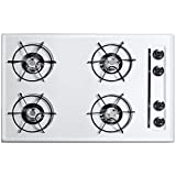 Summit WNL053 30'' Built-In Natural Gas Cooktop with Four 9000 BTU Open Burners Electronic/Gas Spark Ignition Recessed Top Porcelain Enameled Steel Grates and Porcelain Cooking Surface