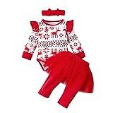 LEXUPE Kinderbe Kleidung Set Mädchen Kleid Hemd und Blumen Hose Set(Rot,100)