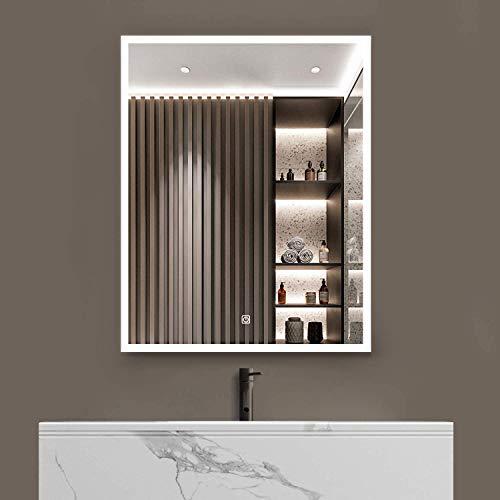 S bagno Espejo de baño LED iluminado, con altavoz Bluetooth integrado, función de atenuación, cambio de color, almohadilla desempañada e interruptor de sensor táctil (600 x 800 mm)