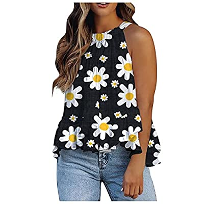 Sleeveless Graphic Tees for Women Boho Floral Print Pleated Tank Tops Summer Casual Loose Fit T Shirts