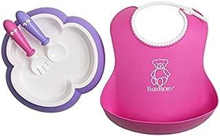 Baby Feeding Set - Pink Soft Bib, Purple Plate, Purple Spoon and Pink Fork