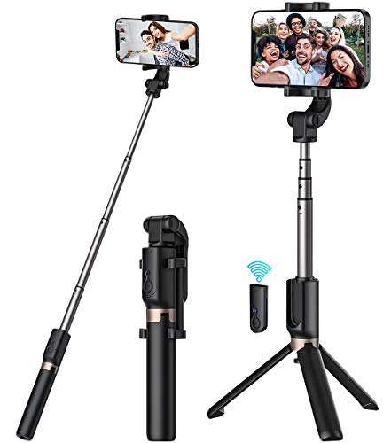 Selfie Stick, Extendable Selfie Stick with Wireless Remote and Tripod Stand[ Portable] Heavy Duty Aluminum [ Lightweight] [Cell Phone Stand ] Compatible with All Smartphones…