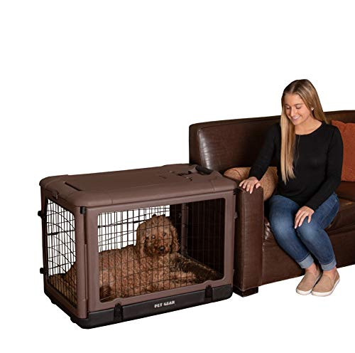 "Pet Gear ""The Other Door"" 4 Door Steel Crate with Plush Bed + Travel Bag for Cats/Dogs, Sets up in Seconds No Tools Required, Built-in Handle/Wheels, Chocolate, 36-inch, (Model: PG5936BCH) 