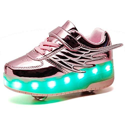 Axcer LED Luci Brillantini Scarpe Sportive con Rotelle Retrattile 2 Ruote Skateboard Sneakers Outdoor Multisport Luminose Running Calzature da Ginnastica per Bambini Ragazze e Ragazzi