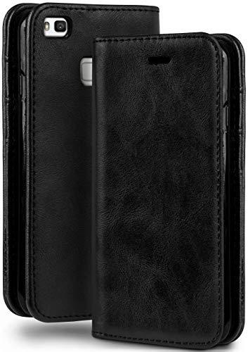 moex Booklet in Lederoptik - Kartenfächer & Aufstellfunktion kompatibel mit Huawei P9 Lite | Eleganter 360 Grad Vollschutz, Schwarz