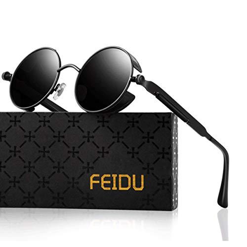 FEIDU Retro Vintage Runde sonnenbrille herren - Polarisiert mit rundem Metallrahmen,sonnenbrille damen FD 3013 (Y-Schwarz Schwarz, 1.81)