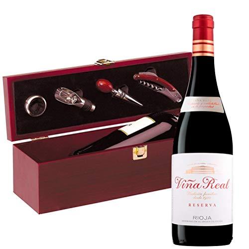 Estuche Regalo Vino + Botella Reserva Viña Real D.Origen Rioja + Set Caja de Madera Incluye Recoge Gotas Dosificador Tapón Sacacorcho y Enfriador -Pack Ideal para regalar.