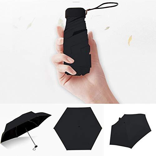Ombrello leggero da donna, con rivestimento nero, 5 pieghe, ombrello da pioggia, unisex, da viaggio, con mini ombrello, nero, a1