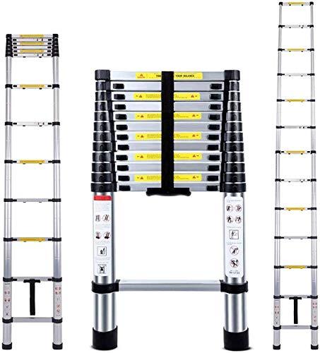 3,8M Teleskopleiter mit Stabilisator, Aluminium Ausziehleiter Hohe Mehrzweckleiter, 150 kg Belastbarkeit (3.8M)