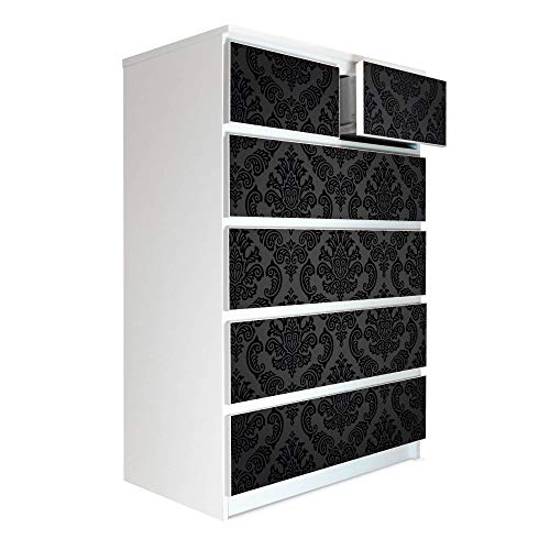 banjado Möbelaufkleber passend für IKEA Malm Kommode 6 Schubladen   Selbstklebende Möbelfolie   Sticker Tattoo perfekt für Wohnzimmer und Kinderzimmer   Klebefolie Motiv Black Deluxe