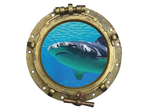 GRAZDesign Wandtattoo Bullauge Meer Fisch - Fliesenbilder Bad Badezimmer WC Hai - Wandsticker Fliesensticker maritim Unterwasser Welt / 32x30cm / 721039_30
