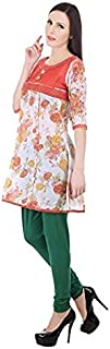 Devaleena Creations Girls'S Cotton Anarkali (Dc-0007-Rose-Prnt-Mxmatch-Shrt-Ank-Krta,Offwhiteprintand Pink,Large)