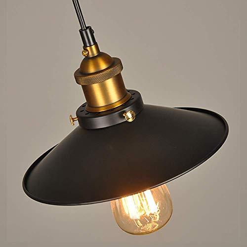 Sombra de luz Colgante Retro Iluminación de Techo Industrial Vintage LED Restaurante Loft Pantalla de lámpara Negra Cocina Cafetería Candelabro E27 Base