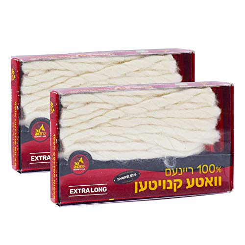 Ner Mitzvah Extra Long Cotton Wicks - 2 x 50 Count (Approx.) Smokeless Replacement Wicks, Multipurpose for Oil Cup Candle Lighting