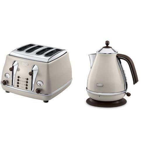 De'Longhi Vintage Icona Dolcevita Jug Kettle and 4 Slice Toaster Bundle - Cream